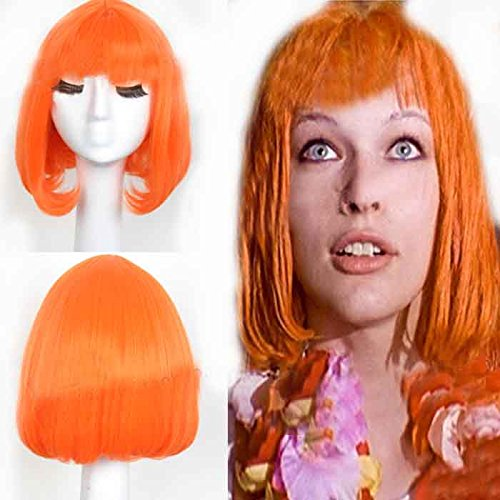 [Xcoser Leeloo Wig the Fifth Element Cosplay Pre-styled Wig Hair Costume Accessories Halloween Party] (Fifth Element Costume Suspenders)