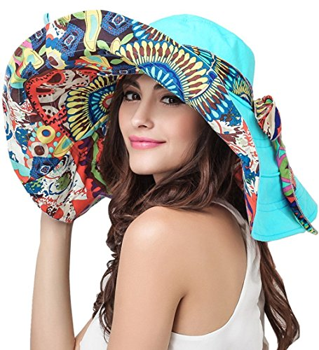 Women Summer Reversible Floppy Wide Brim Beach UPF50+ Foldable Sun Hat Visor (Reversible Uv Protection Hat)