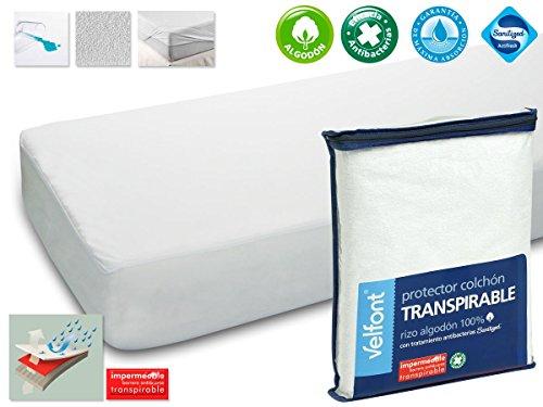 Protector Rizo impermeable para colchon de 105x190/200 Rizo algodon 100% con tratamiento de Aloe Vera