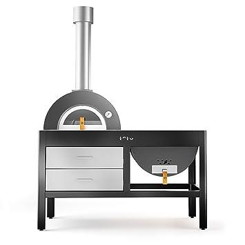 TOTO Cocina de exterior con horno y grill a leña Grill Oven gris: Amazon.es: Jardín