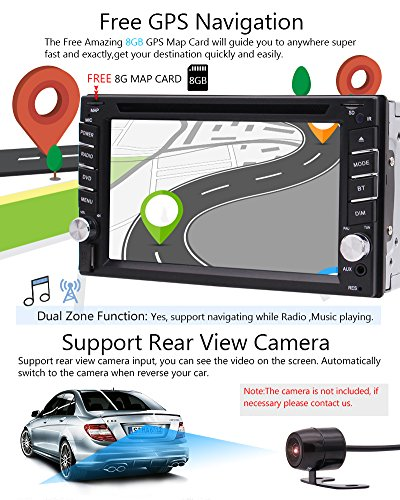 FREE Backup Camera Included + NEW Design Double Din Car Stereo DVD Player GPS Navigation Radio Bluetooth 2 Din Capacitive Touch Screen support USD SD 1080P SWC Car Logo Multi Language Remote Control by EinCar (Image #3)