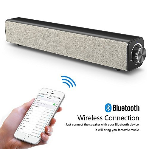 Sound Bar, Bluetooth Speaker Soundbar, Wired and Wireless 20W Stereo Speaker HD Audio, Bass Music, Portable Home Theater TV Speaker Surround Sound Bar for PC, Cellphone, TV, Tablet Projector