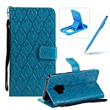 Blue Leather Case for Samsung Galaxy S9,Strap Wallet Case for Samsung Galaxy S9,Herzzer Bookstyle Classic Elegant Pretty Flower Design Magnetic Stand Flip Leather Case with Soft TPU