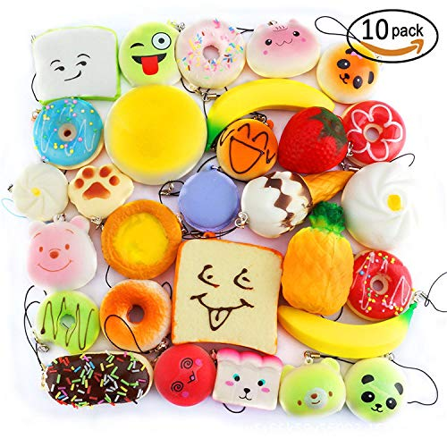 Bread French Banana (1 lot 20 pcs Bread Squishy Slow Rising French Fries Soft Ice Cream Coffee Cup Scented Banana Stretch Donut Milk squeeze bottle Toy)