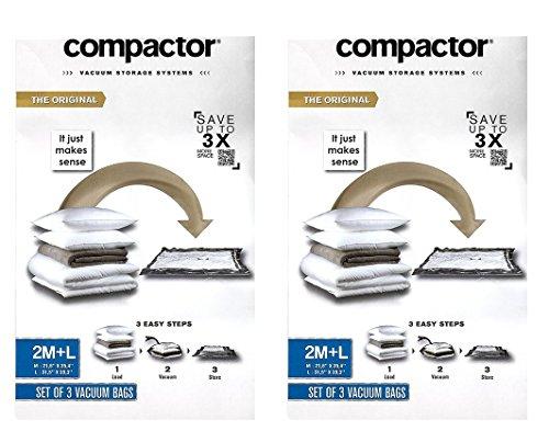 Compactor, Vacuum Storage System, Premium Reusable Vacuum Bags, Variety Pack (4 Medium + 2 Large) (Premium Air Hose Quality Polyurethane)