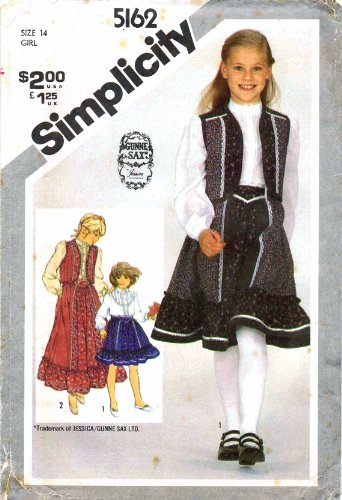 Simplicity 5162 Sewing Pattern Girls Gunne Sax Skirt Blouse Quilted Vest Size 14 -