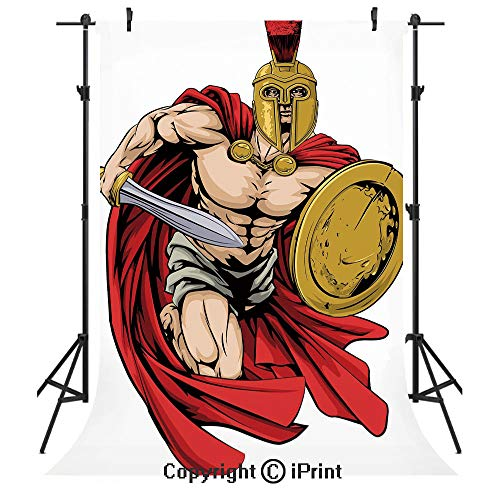 Toga Party Photography Backdrops,Spartan Warrior with Sword and Shield Ancient Legendary Greek World Graphic,Birthday Party Seamless Photo Studio Booth Background Banner 6x9ft,Peach Red Gold