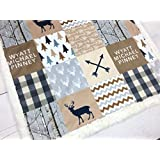 """Minky Baby Blanket woodland in tan, beige and gray, 28"""" x 38"""""""