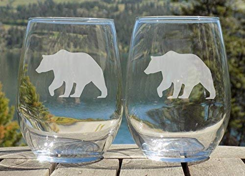 Bear Glasses, Rustic Cabin Decor, Mountain House, Set of two 20oz Etched Wine Glasses