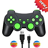TPFOON PS3 Wireless Controller Gamepad with Charging Cable, Bluetooth Dualshock Joystick Sixaxis Remote for Sony PlayStation 3 PS3, Raspberry Pi 3