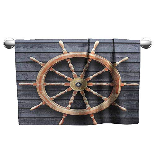 Collection Wood Platinum Woven - DUCKIL Cotton Hand Towels Ships Wheel Decor Collection Old Trawler Steering Wheel Captain Direction Control on Hardwood Timber Wall High-end Bath Sheet 63 x 31 inch Charcoal Camel