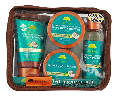Tree Hut Essential Travel Kit, Coconut Lime, 4 Items in One Bag, for Nourishing Essential Body Care on the - Body Kit Almond
