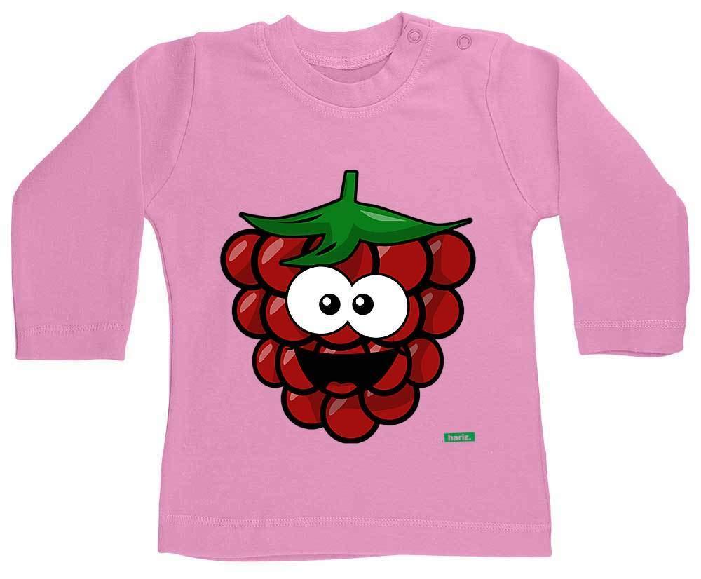 HARIZ Baby Shirt Langarm Himbeere Lachend Fr/üchte Bunt Plus Geschenkkarte Bubblegum Pink 3-6 Monate
