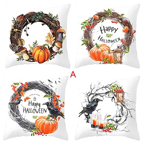 Winsummer Set of 4 Happy Halloween Throw Pillow Covers 18 x 18 Inch Autumn Thanksgiving Halloween Theme Sofa Home Decor Cotton Linen Cushion Cover Pillowslips Pillowcases (Furniture Autumn)