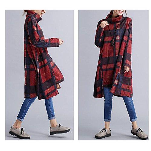 Rouge manches orange irrgulire Neck Turtle QBQ Imprim hiver Femmes automne Vintage Jersey longues pull qYxOf7