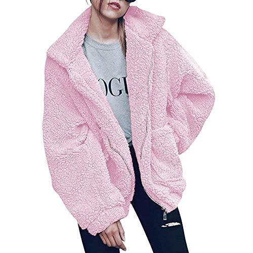 Womens Faux Shearling Jacket, Casual Lapel Fleece Fuzzy Jacket Shaggy Oversized Jacket Fashion Cardigan Coat (Pink,XXXL)