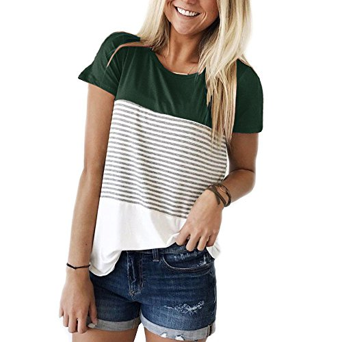 LYXIOF Women's Tops Short Sleeve Round Neck Triple Color Block Stripe T-Shirt Casual Blouse A-Green L