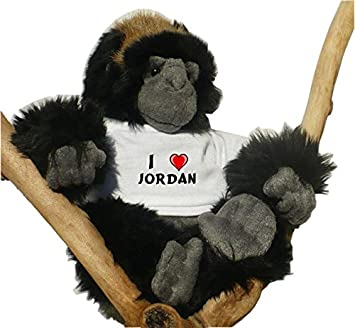 Gorila de peluche (juguete) con Amo Jordan en la camiseta