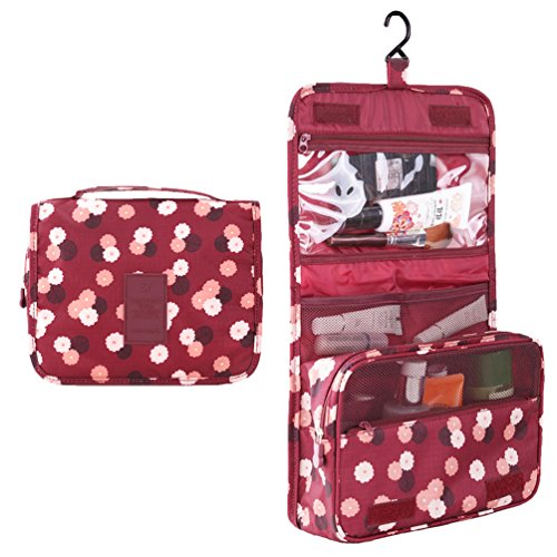 HiDay Hanging Travel Toiletry Organizer Cosmetic Bag with fl