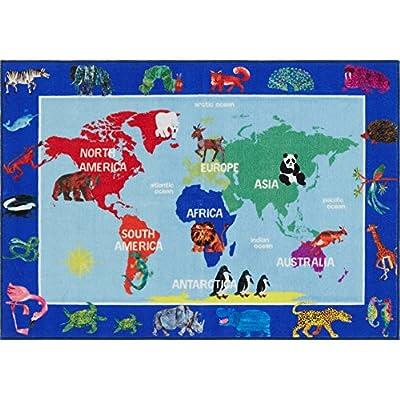 Home Dynamix Eric Carle Elementary World Map Educational Kids Area Rug 4'11