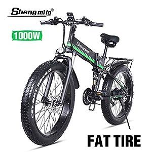 Shengmilo-mx01 Motoslitta da 26 Pollici Elettrico, 1000w 48v 13ah Mountain Bike Pieghevole Shimano 21 velocità Idraulica…