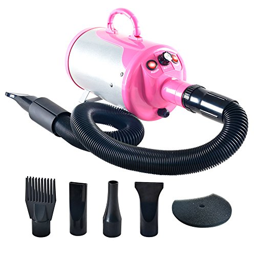 SHELANDY 3.2HP Stepless Adjustable Speed Pet Hair Force Dryer Dog Grooming Blower with Heater (Pink) from SHELANDY