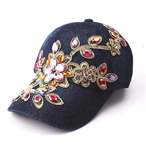 Deer Mum Ladies Denim Jean Campagne Bling Flower Pattern Adjstable Baseball Cap (darkblue04)