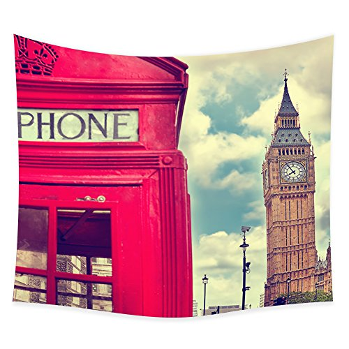 Big Ben tower and a red phone booth -Tapestry Wall Hanging -ZBLX Hanging Tapestry Wall Art For a Home Decorations-Light-weight Polyester Fabric. - A Booth Wall Make Photo How To