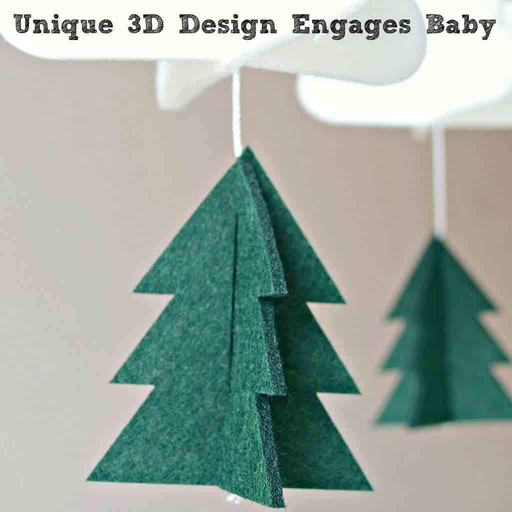 Fenebort Boys//Girls Baby Crib Mobile Woodland Night Nursery Mobile Decoration Felt