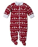 Kissy Kissy Unisex-Baby Infant Christmas Deer Print Footie with Zipper-Red-6-9 Months