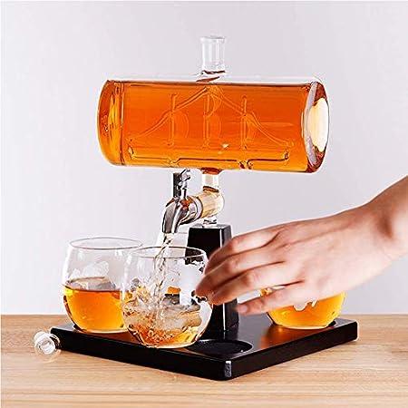 QLIGHA 1100 ML Decanter Set para Whisky Creative Glass Stand de Madera Dispensador de Whisky Juego de Botellas de Vino para Licor, Scotch, Bourbon, Vodka Sail Wine Bottle