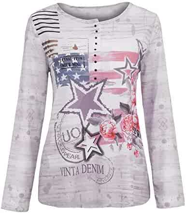8d925bb6729 Dunacifa Women s Blouse Ladies Long Sleeve Floral Print Casual Tops T-Shirt  Sweatshirts Pullover Jumper