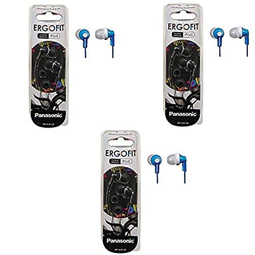 Panasonic ErgoFit In-Ear Earbud Headphones - 3 Pack (Blue) (Panasonic Headphone Blue)