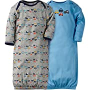 Gerber Baby Boys' 2 Pack Cute Lap Shoulder Gown, Blue, 0-6 Months