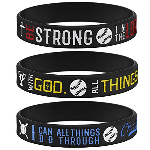 (Sainstone Power of Faith Baseball Bible Verse Silicone Wristbands with Christian Inspirational Sayings, Set 3 of Scriptures Motivational Rubber Bracelets Sports Gifts (Black Color) )