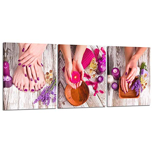 Kreative Arts 3 Piece Canvas Wall Art Spa Pedicure Treatment Posters and Prints Nail Foot Massage Salon Photo Framed Art Work Modern Home Decor Stretched and Framed Ready to Hang 16x20inchx3pcs