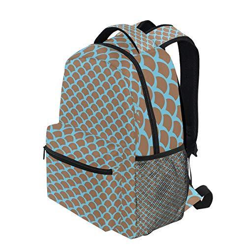(KVMV Squama Pattern with Intertwined Half Circles Aquatic Animal and Snake Scale Design Lightweight School Backpack Students College Bag Travel Hiking Camping Bags )