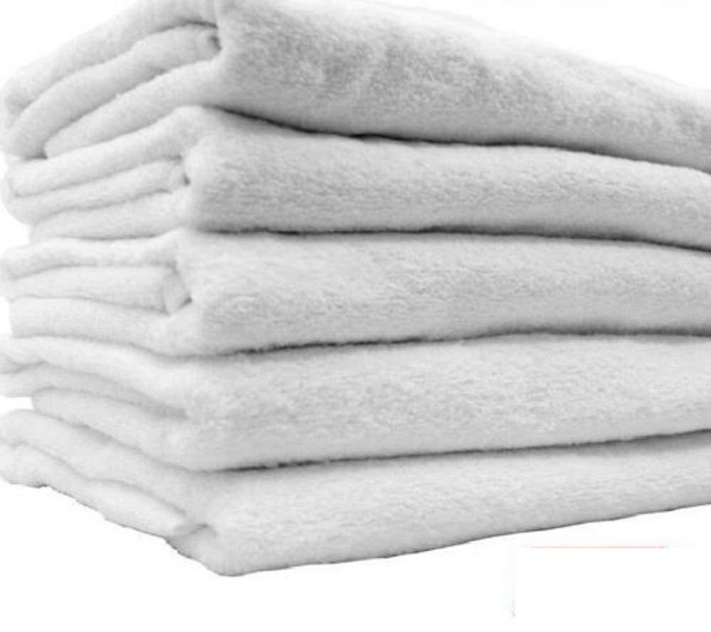 48 New White Hair Bath Salon Gym Workout Towels 22x44 100% Cotton Wholesale