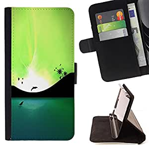 For HTC ONE A9 Blue Lagoon Dolphins & Birds Style PU Leather Case Wallet Flip Stand Flap Closure Cover