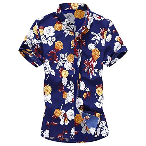 (YKARITIANNA Summer New Men Casual Summer Printed Button Short Sleeve Hawaiian T-Shirt Top)