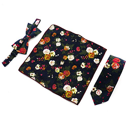 Squares Tie (IDS Men's Floral Skinny Neck Ties and Bowtie Pocket Square 3pcs Set for Weddings, Groom, Groomsmen, Missions, Dances, Gifts)