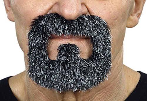 Halloween Facial Hair - Inmate salt and pepper fake beard, self adhesive