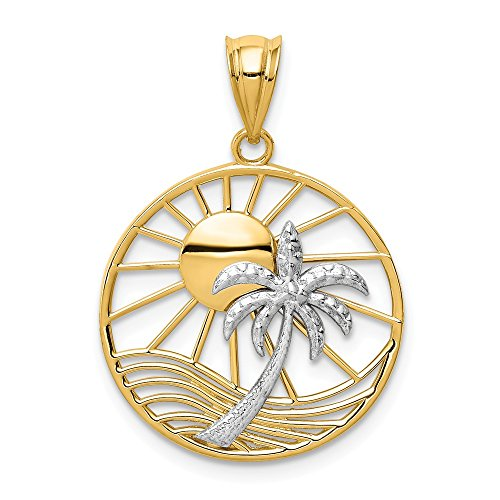 FB Jewels Solid 14K Yellow Gold Two Tone Sun & Palm Tree Pendant ()