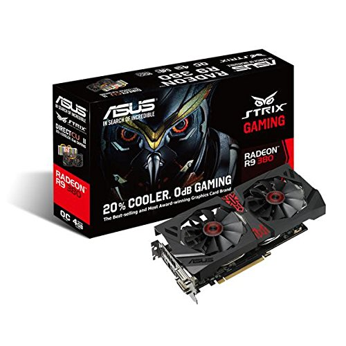 Asus Strix-R9380-DC2OC-4GD5-GAMING AMD Gaming Grafikkarte (PCIe 3.0 x16, 4GB DDR5 Speicher, HDMI, 2x DVI, DisplayPort)