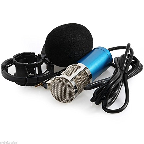 WALLER PAA Condenser Pro Audio BM800 Microphone Sound Studio Dynamic Mic +Shock Mount (Blue) (Cobra Firefly Costumes)