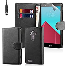 32nd® Book wallet PU leather case cover for LG G4 + screen protector, cleaning cloth and touch stylus - Black
