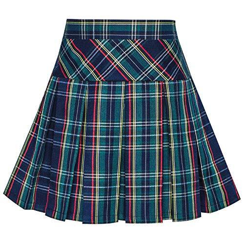 Girls Plaid Skirts Green (Sunny Fashion Girls Skirt Back School Uniform Peacock Green Tartan Skirt Size 11-12)