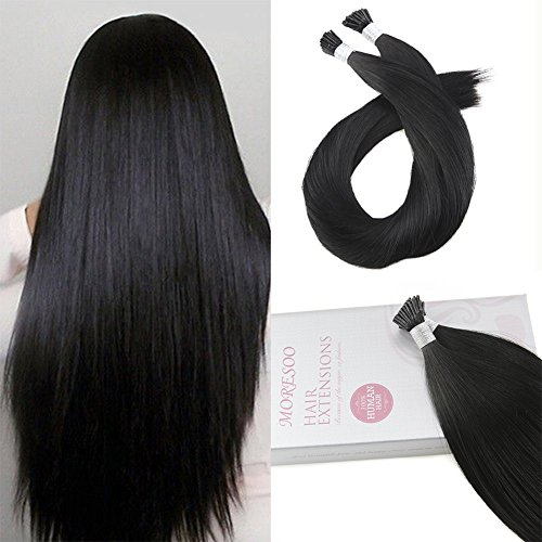 Moresoo Pre Bonded Human Hair Extensions 50g/50 Strands Jet Black Color #1 24 Inch Long Straight Itip Extensions Real Human Hair 100 Human Hair Extensions