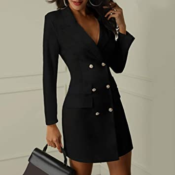 7937196455cf gLoaSublim Blazer Dress for Women,Office Lady Lapel V Neck Double Breasted  Long Sleeve Blazer