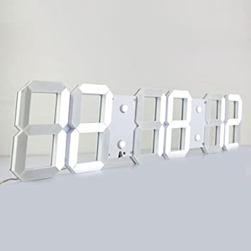 chkosda Silencioso multifuncional LED Digital reloj de pared Plus con mando a distancia, gran calendario